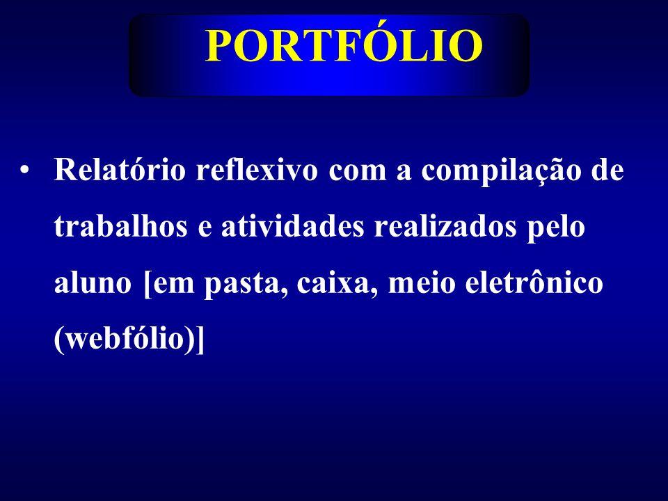 PORTFÓLIO Relatório reflexivo com a compilação de trabalhos e atividades realizados pelo aluno [em pasta, caixa, meio eletrônico (webfólio)]